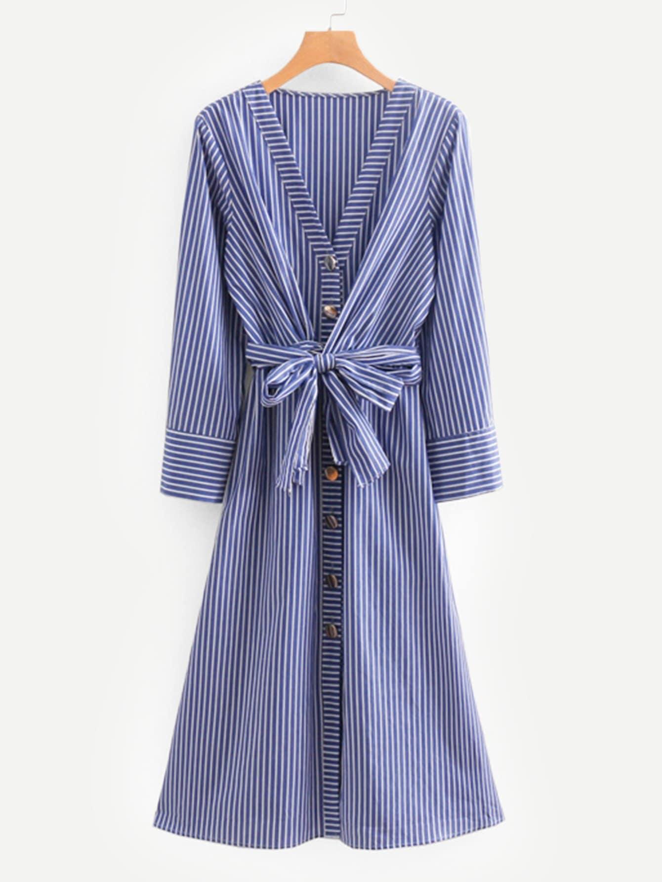 Купить Полосатое платье-рубашки с поясом, null, SheIn