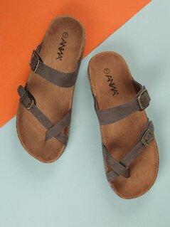 Faux Suede Double Buckle Sandals