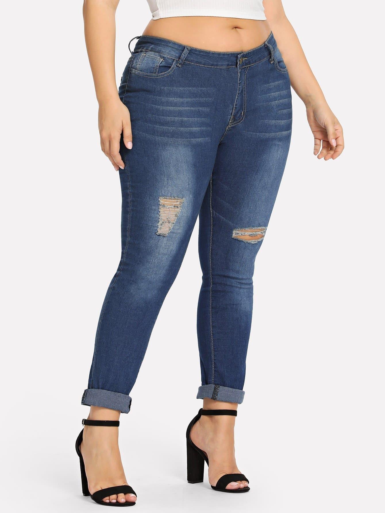 Купить Большая рваная белёная джинсовая ветровка, Franziska, SheIn