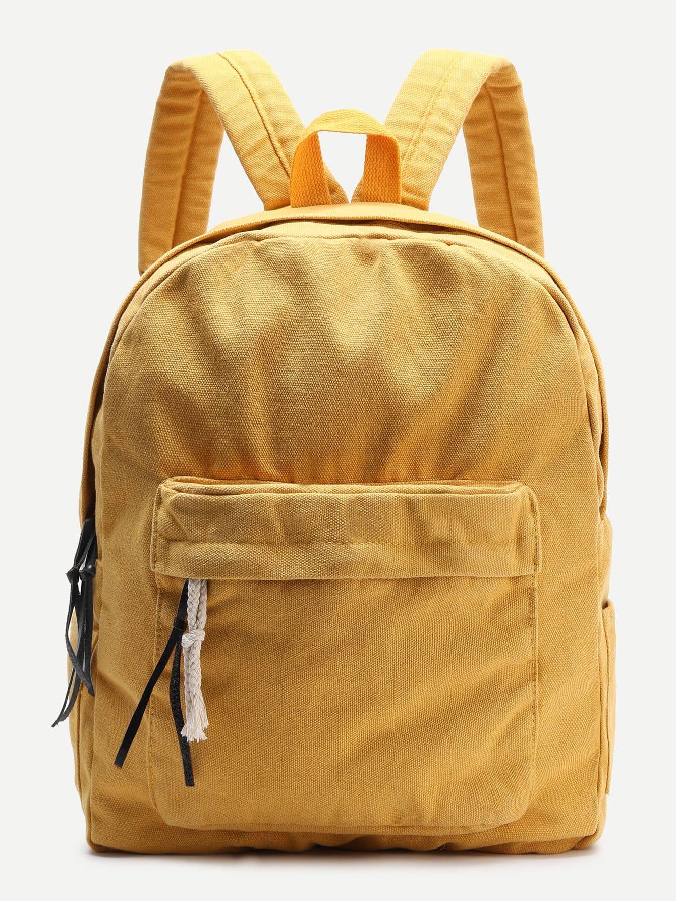 Купить со скидкой Yellow Zipper Front Canvas Backpack