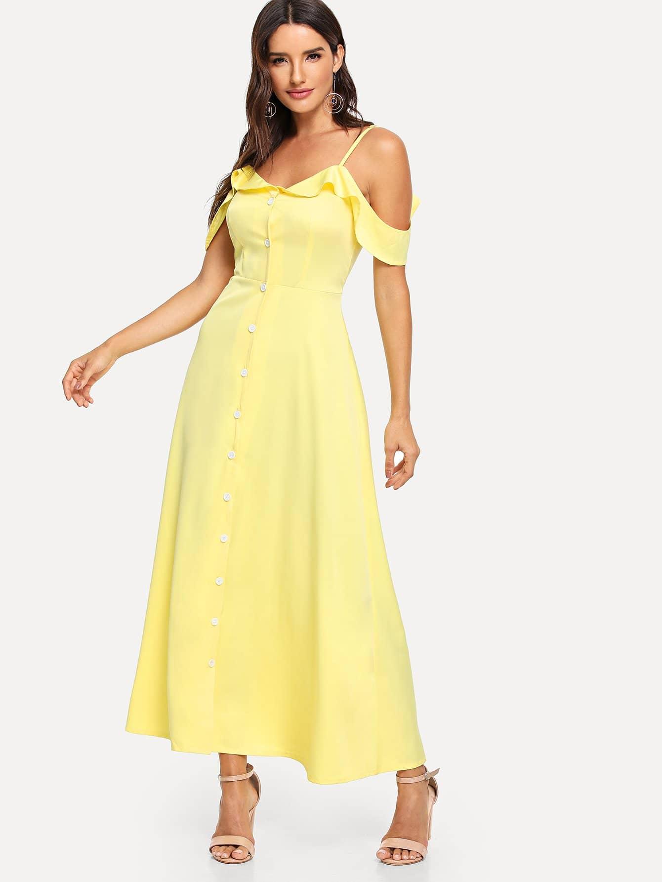 Купить Платье на бретелях и рукав с розеткой, Juliana, SheIn
