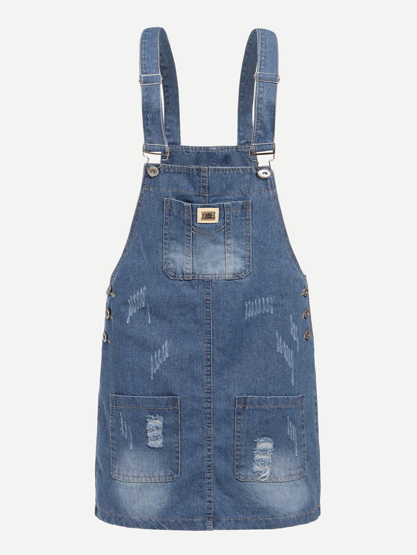 Купить Белёное джинсовое платье с украшением пуговицы, null, SheIn