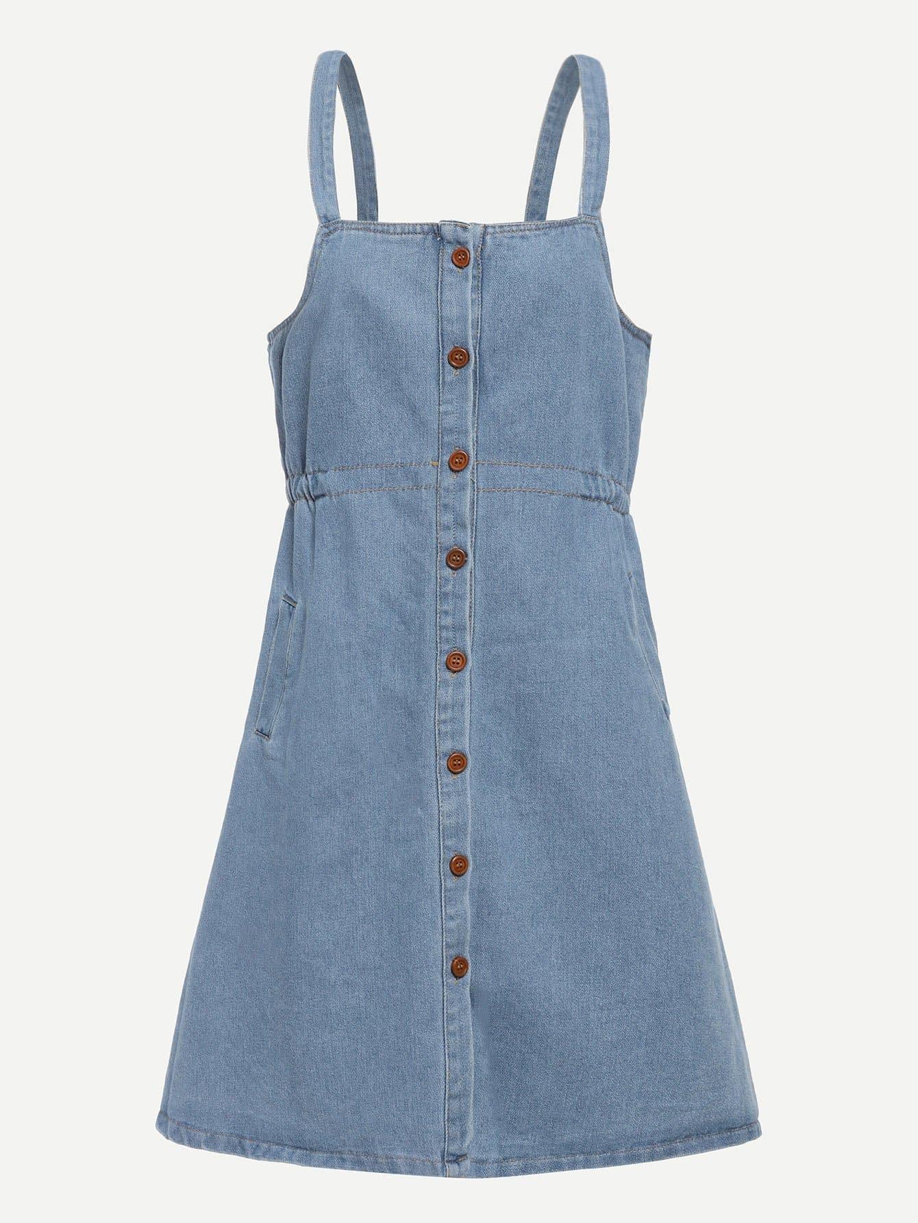 Купить Джинсовое платье с украшением пуговицы, null, SheIn