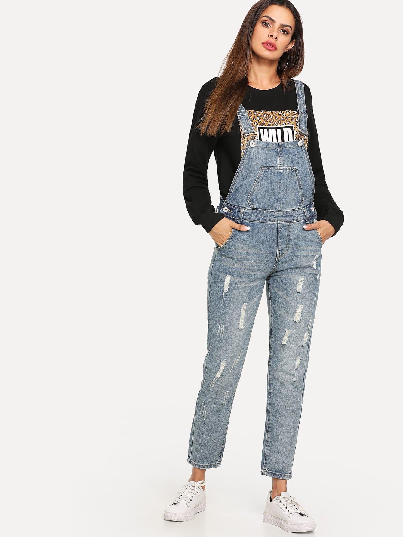 Купить Белёный рваный джинсовый комбинезон, Andy, SheIn