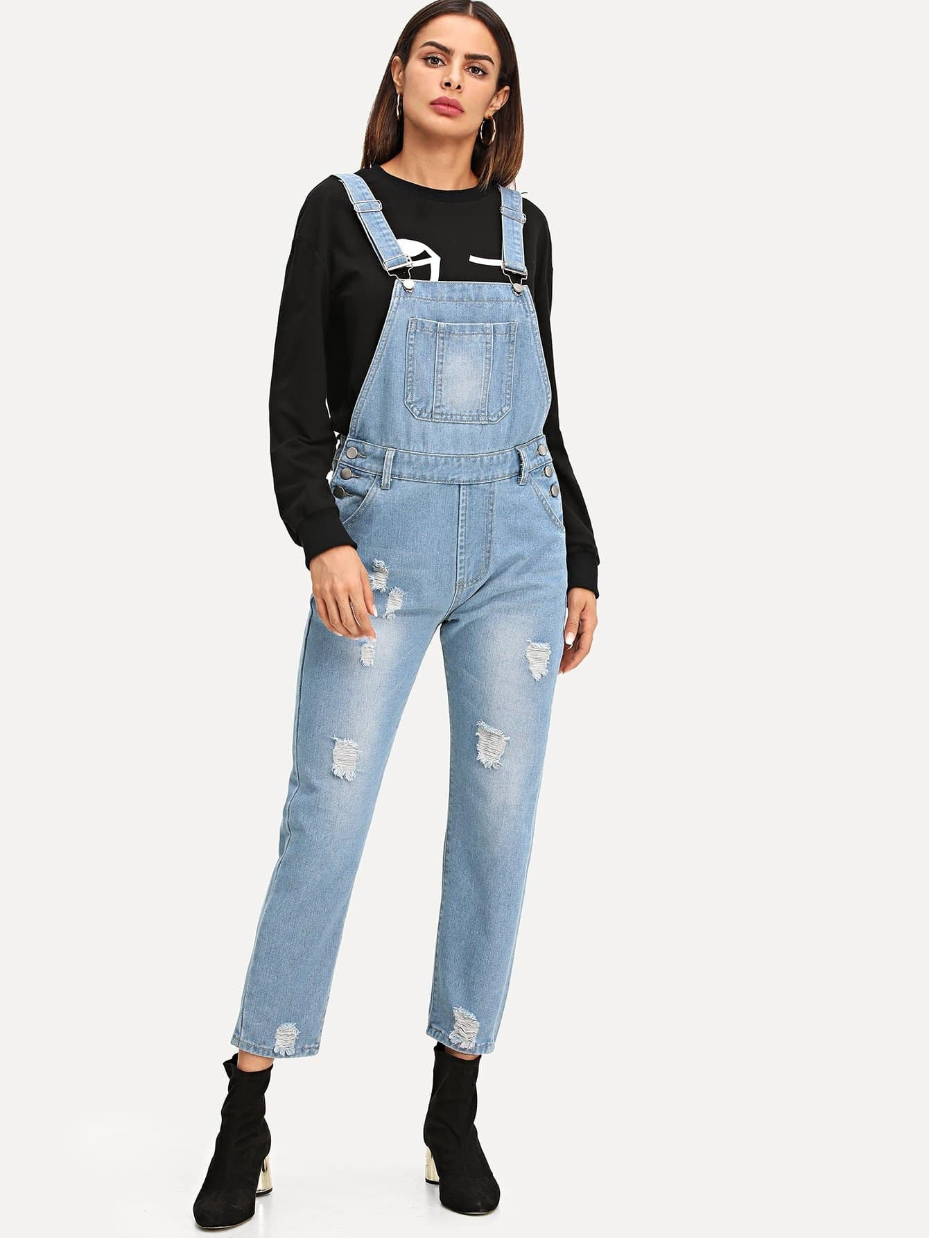 Ripped Faded Denim Overalls
