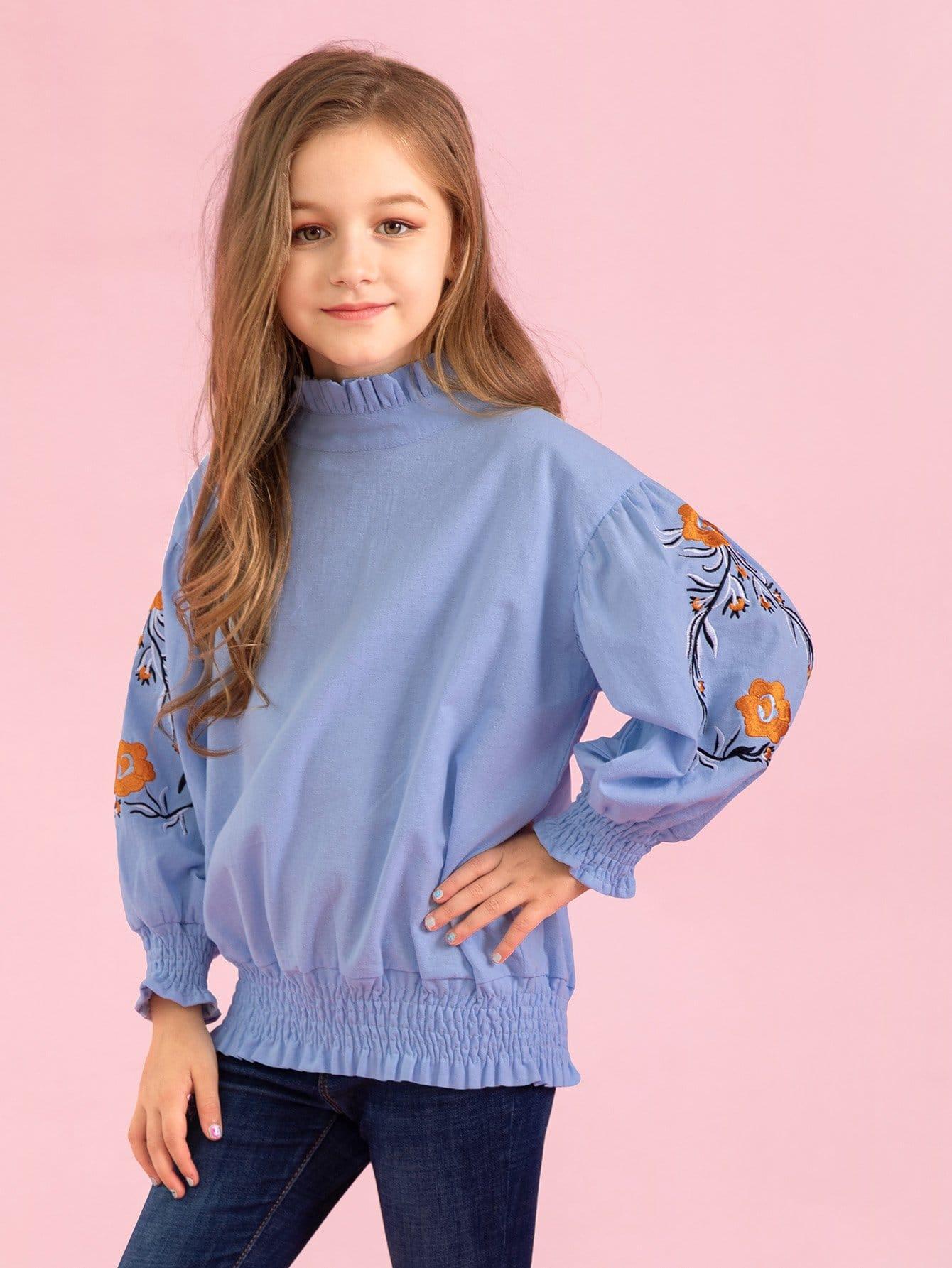 Купить Блуза с вышивкой и подол со складками для девочки, null, SheIn
