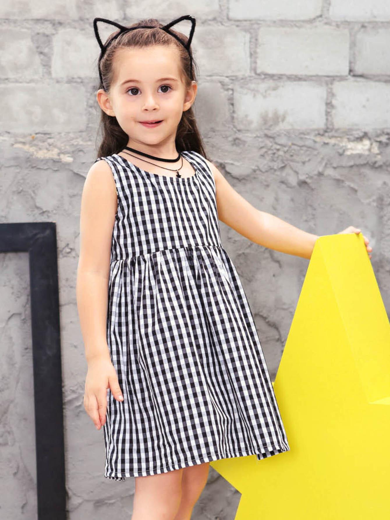Купить Платье в клетку и с замочной скважиной для девочкии, null, SheIn