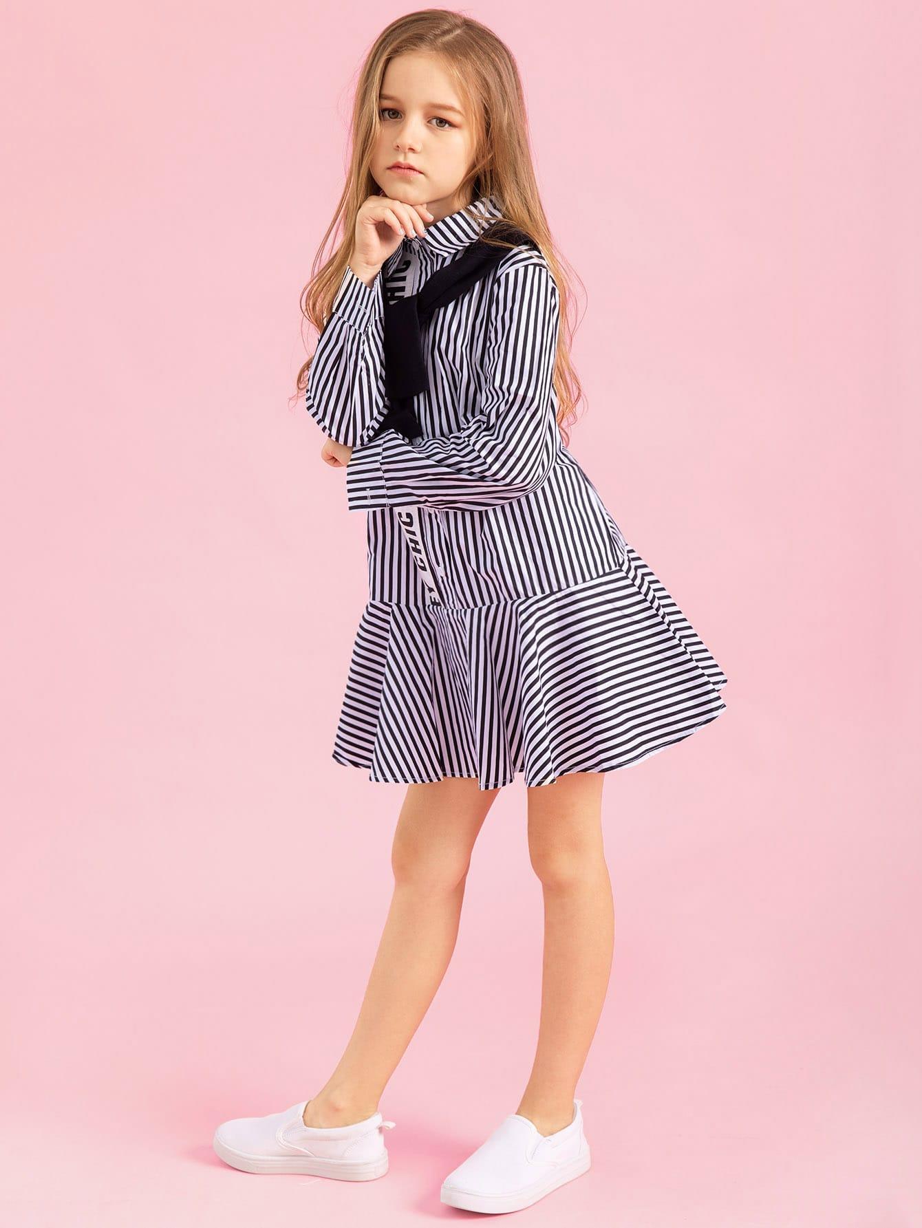 Girls Letter Tape Striped Dress