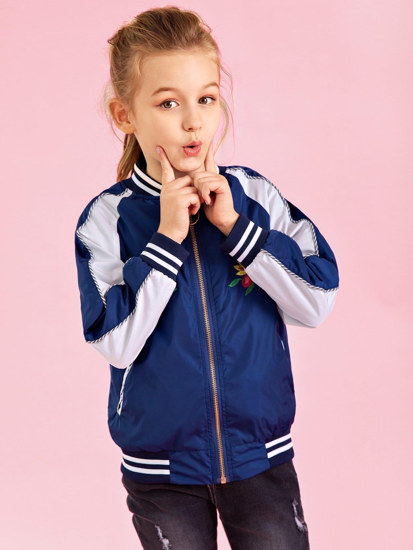 Купить Ветровка с вышивкой и со симметрическими рукав-регланами для девочки, null, SheIn