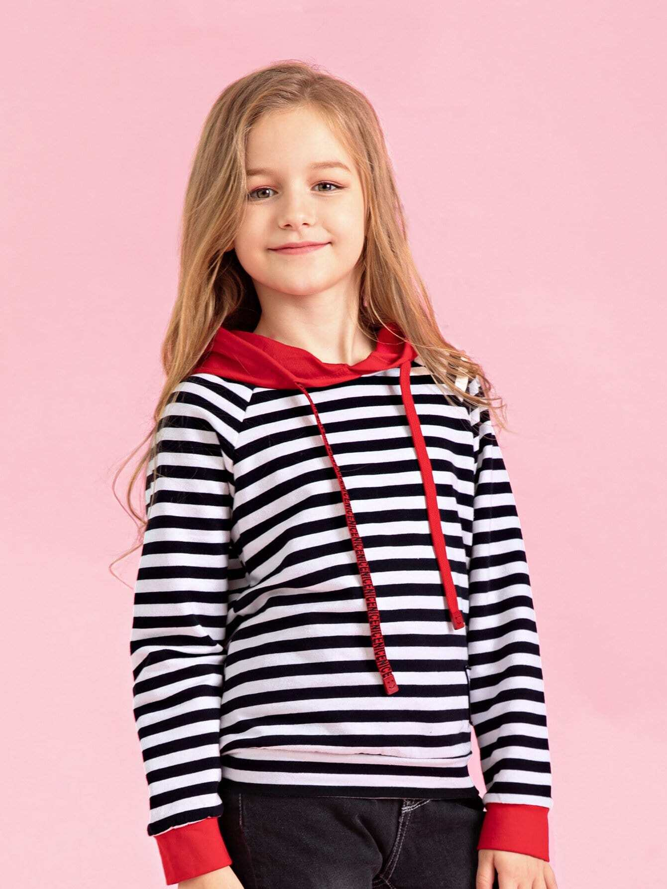 Girls Patched Detail Striped Hooded Sweatshirt болторез stayer master