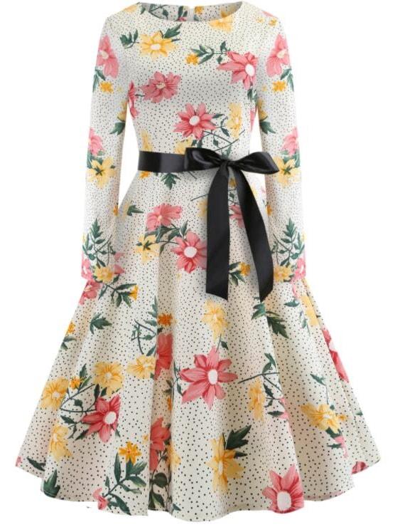 Купить Ситцевое платье с рисунками точки польки и с поясом, null, SheIn