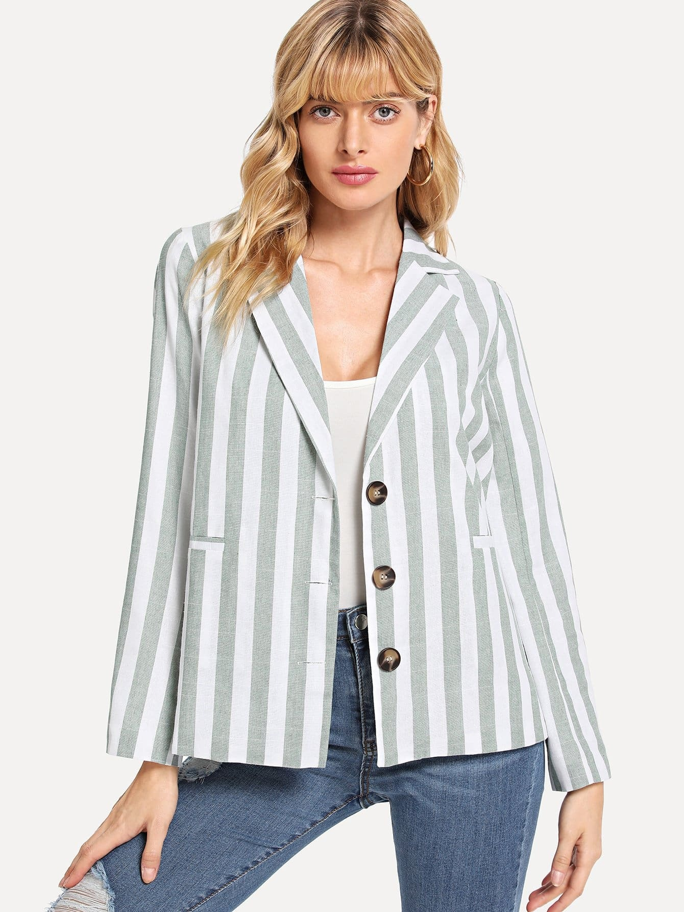 Single Breasted Striped Blazer