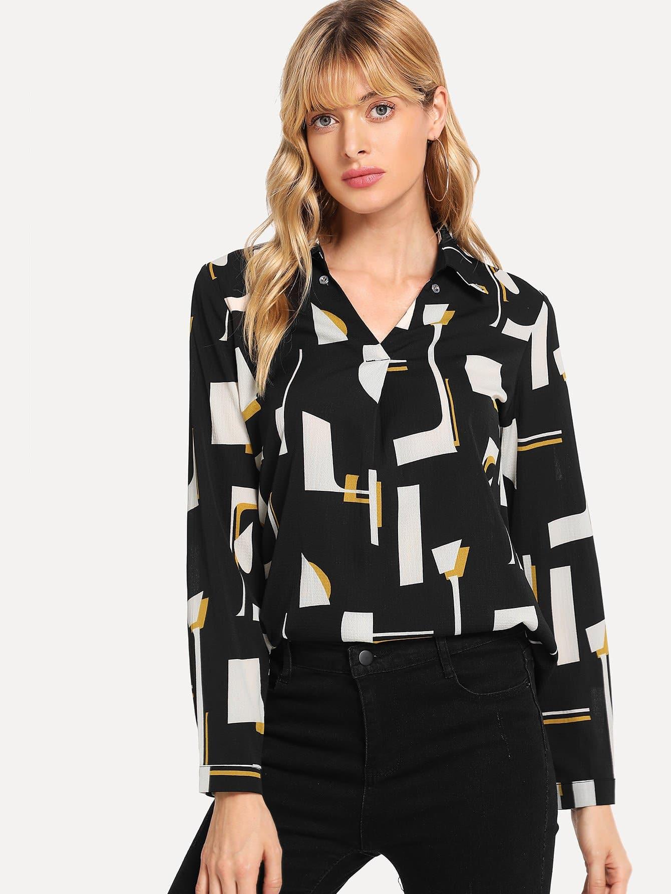 Купить Блузка с выгнутым подолом с геометрической печатью, Masha, SheIn