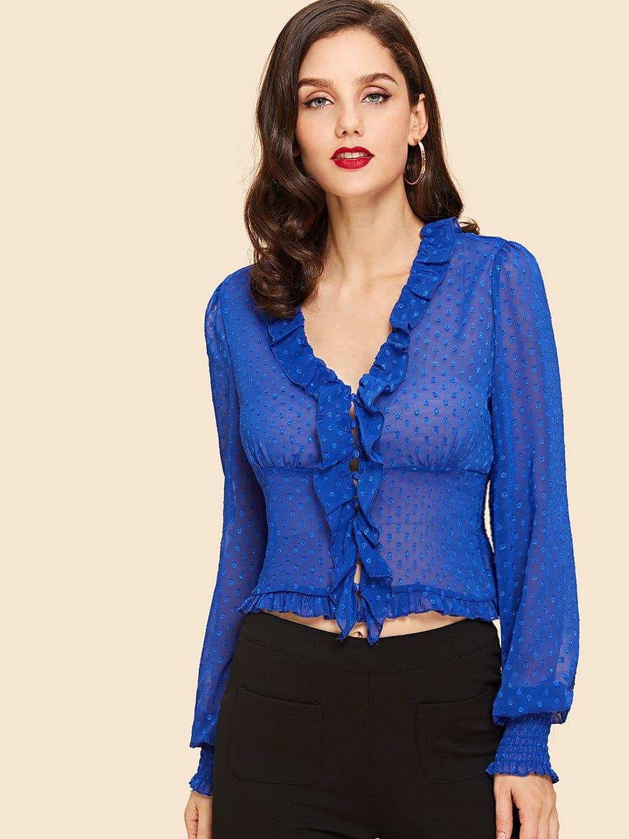 Купить Прозрачная блузка в крапинку с оборкой отделкой, Julie H., SheIn