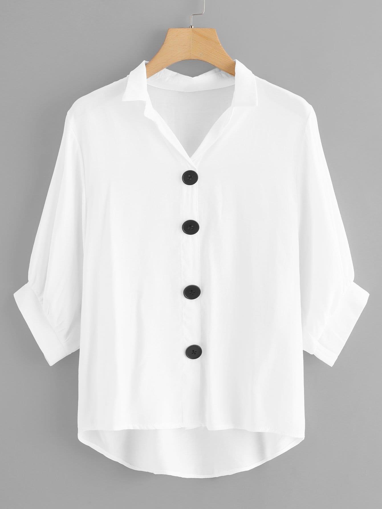 Купить Однобортная блузка с асимметричным низом, null, SheIn
