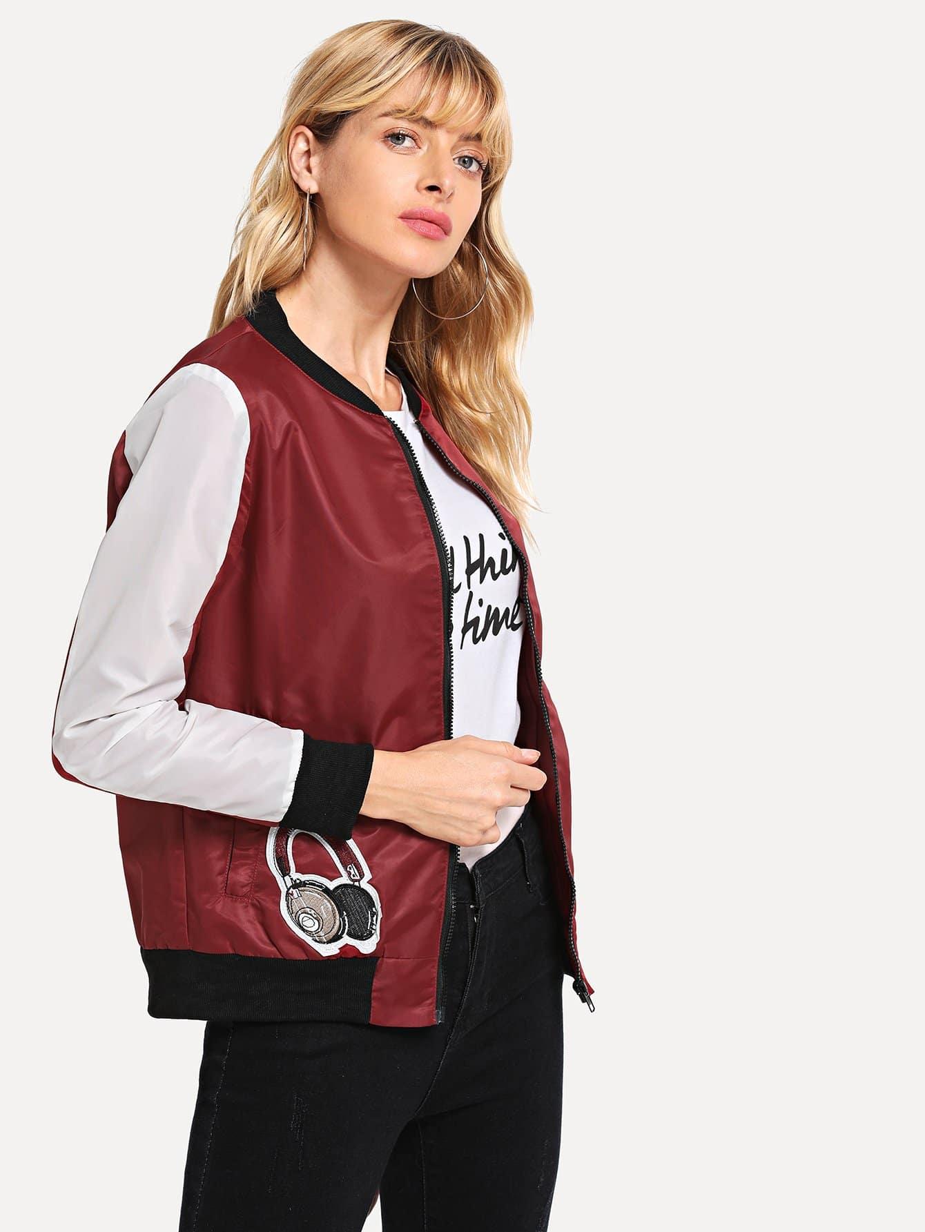 Купить Заплатанная контрастная куртка, Masha, SheIn