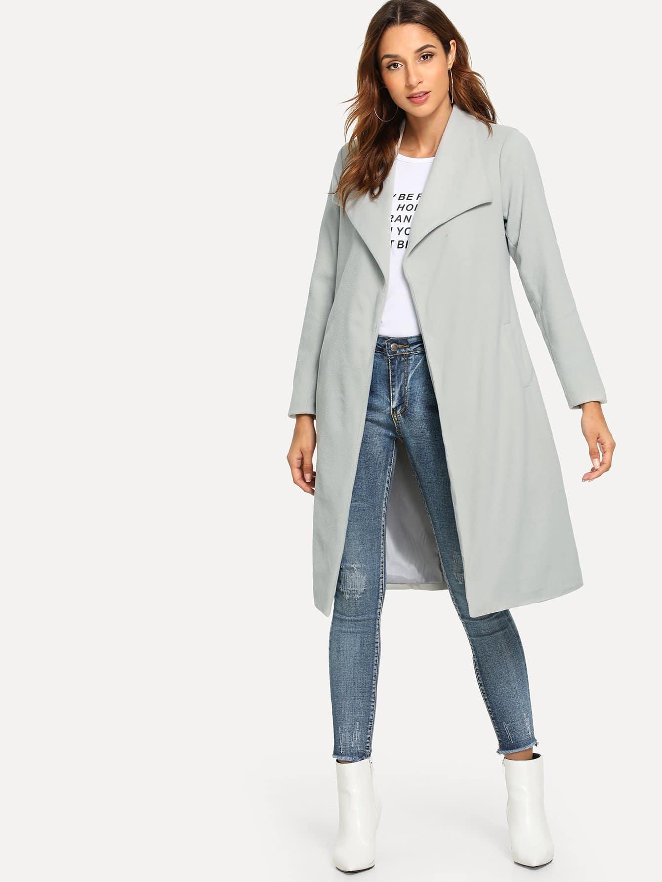 Купить Простое пальто с отложным воротником, Gabi B, SheIn