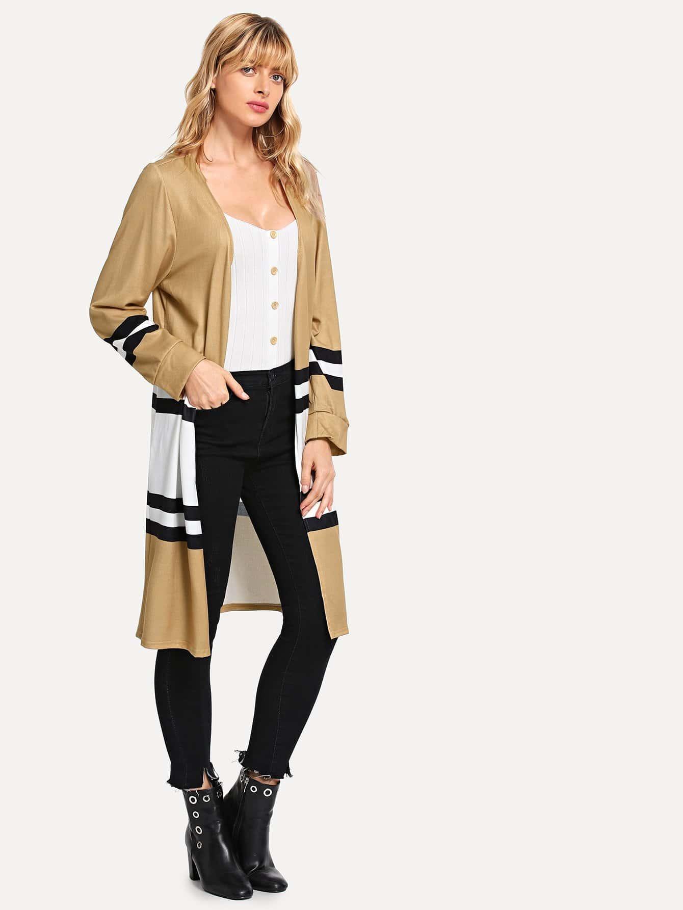 Купить Контрастное полостое пальто, Masha, SheIn