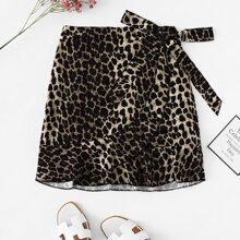 Plus Leopard Print Skirt