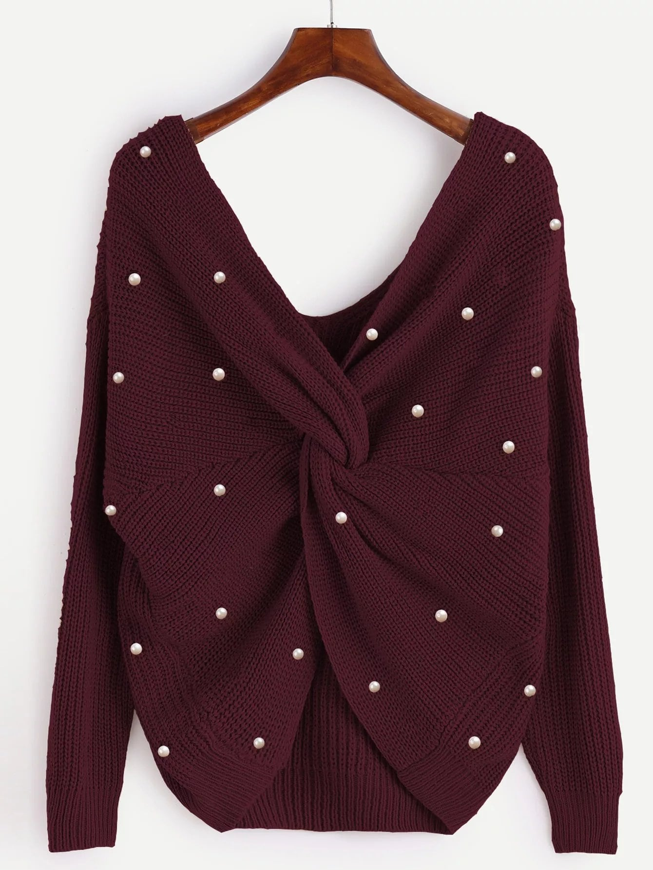 Plus Twist Front Beaded Detail Sweater