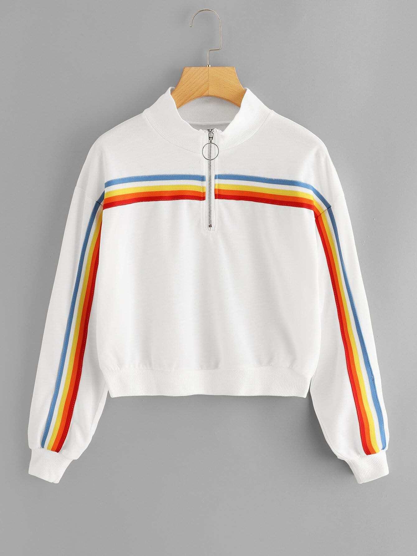 Plus Contrast Taped Quarter Zip Sweatshirt