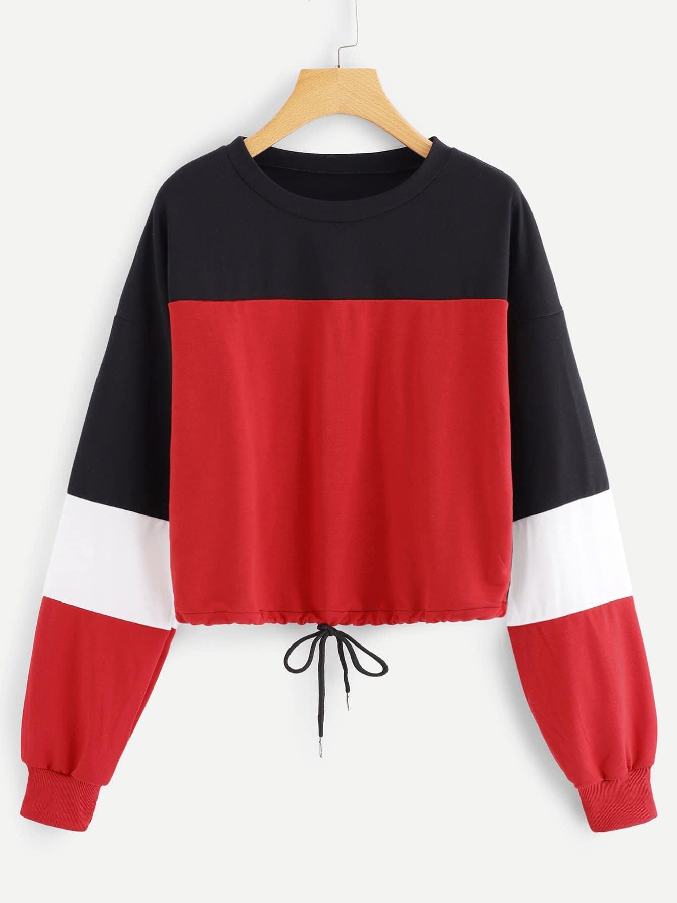 Plus Color Block Drawstring Hem Sweatshirt