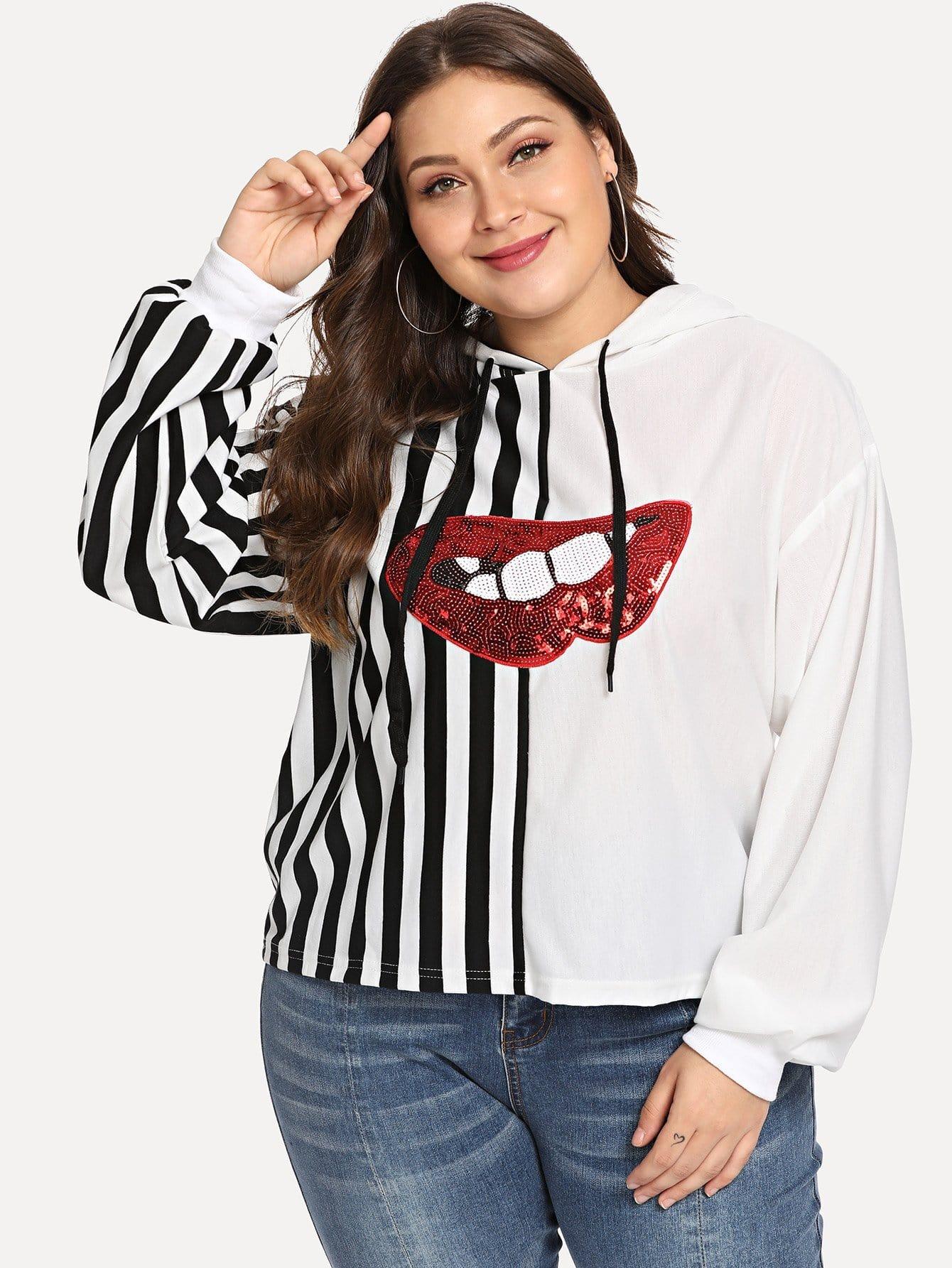 Plus Contrast Sequin Striped Hooded Sweatshirt