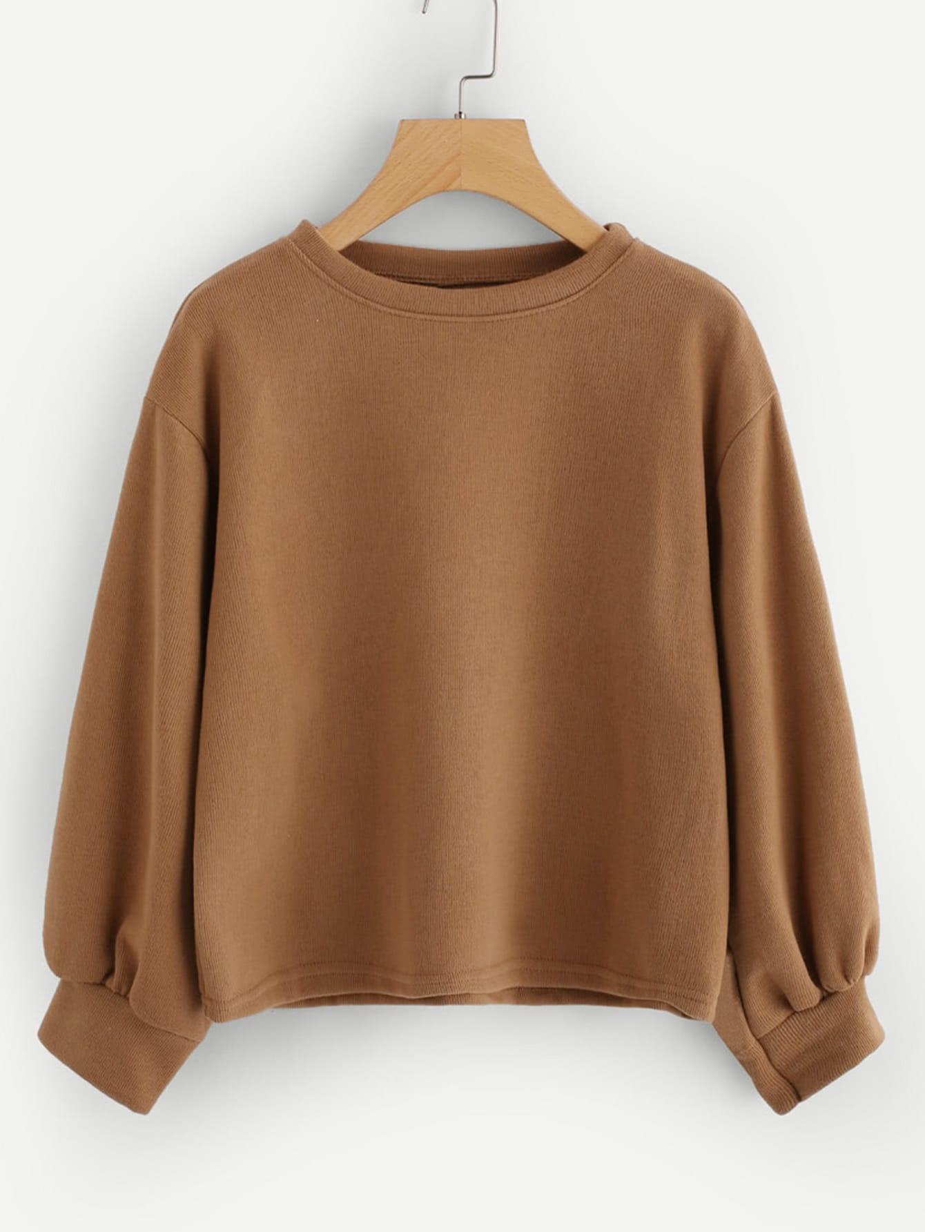 Plus Drop Shoulder Solid Sweatshirt