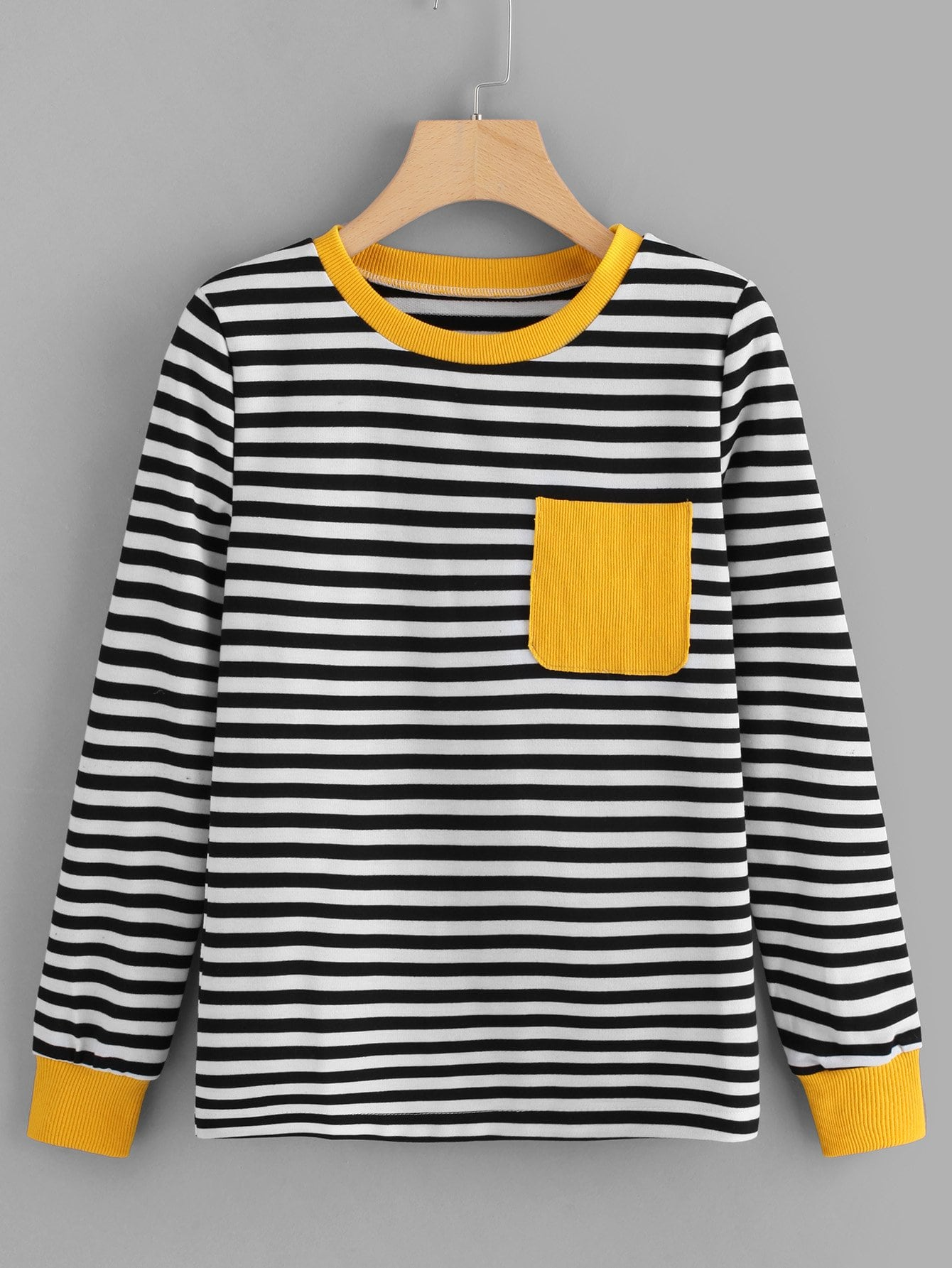 Contrast Pocket Striped Tee