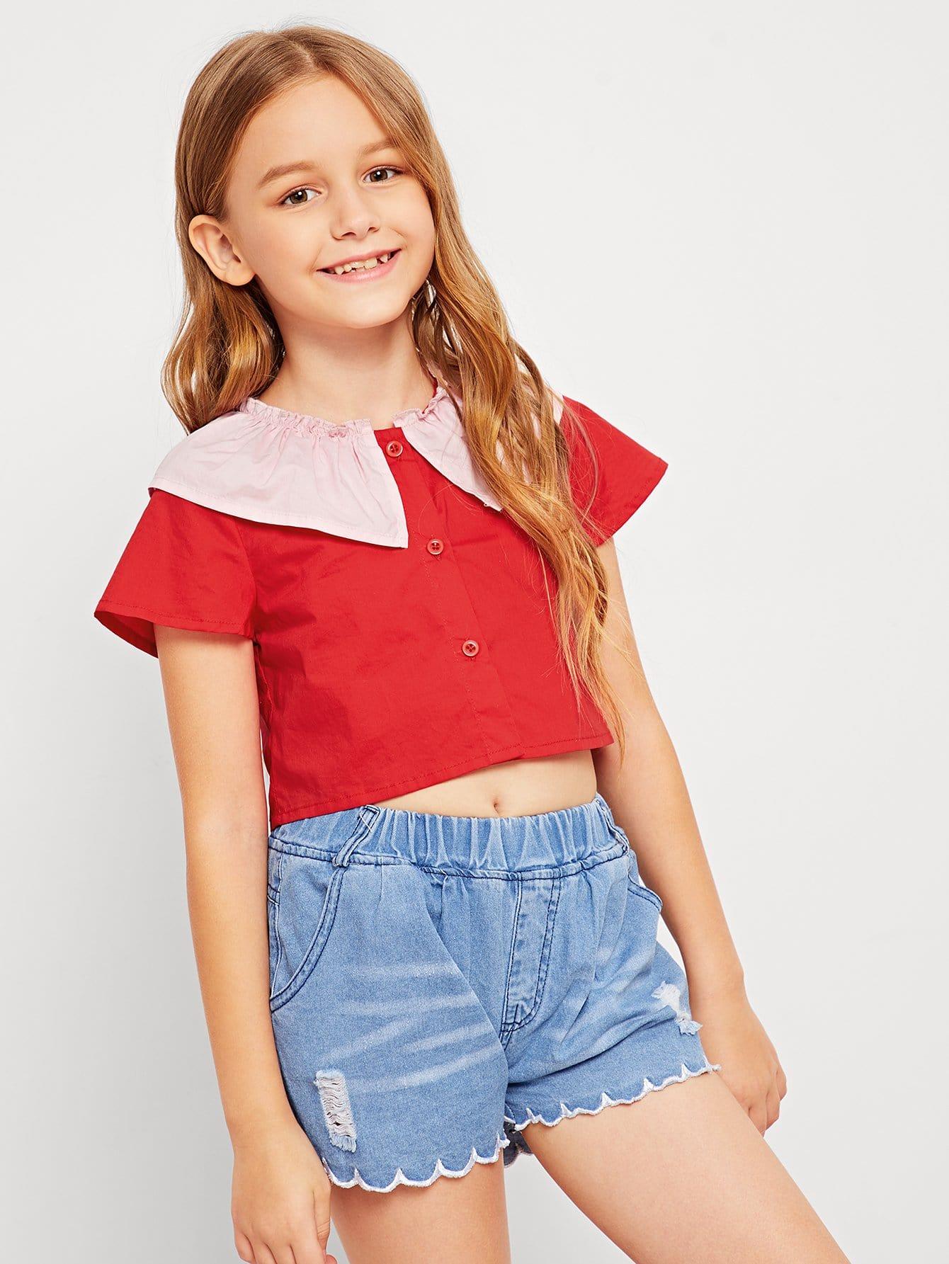 Девушки Frill Neckline Button Передняя блузка, Sashab, SheIn  - купить со скидкой