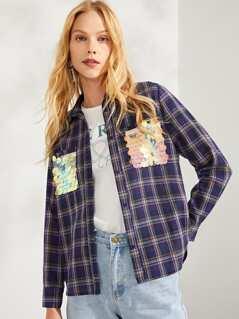 Contrast Sequin Pocket Patched Plaid Shirt