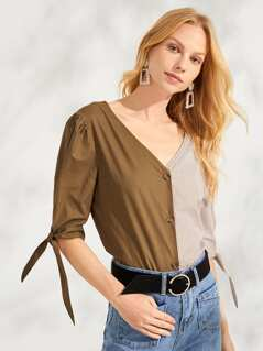 Two Tone Button Up Tie Cuff Top