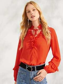 Neon Orange Ruffle Detail Tie Neck Solid Top