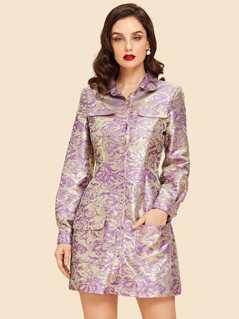 Button Up jacquard Dress