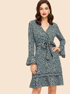 Leopard Print Flounce Sleeve Dress