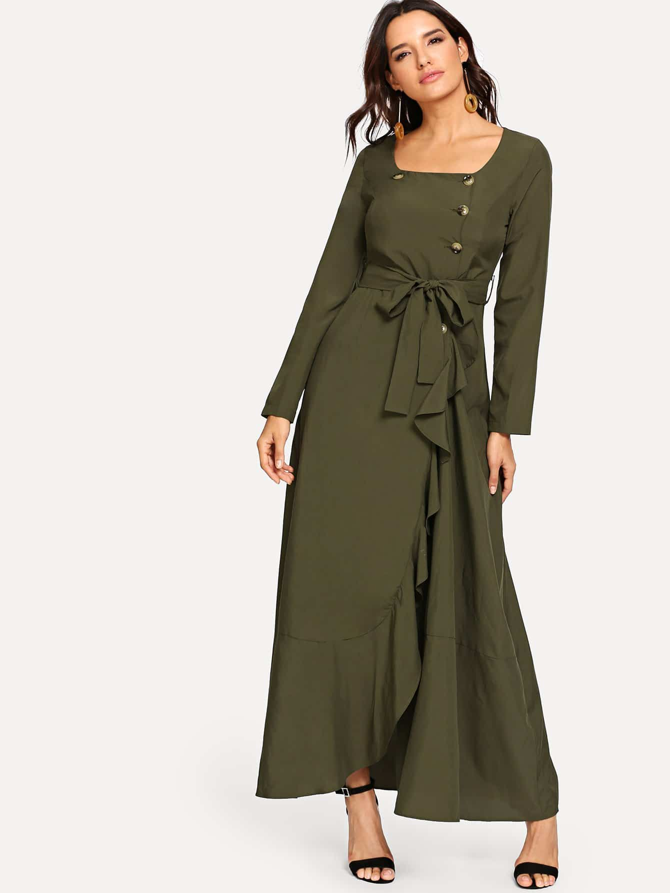 Ruffle Trim Button Up Belted Dress self belted solid ruffle trim dress