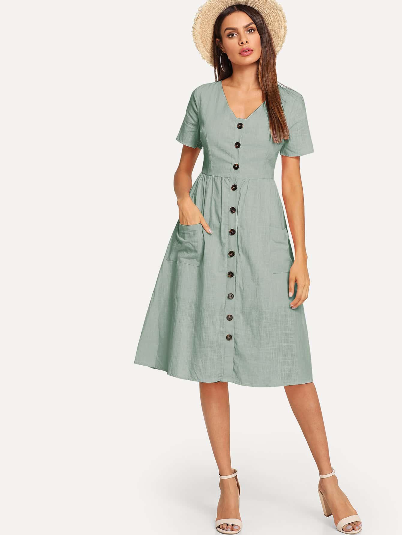 Купить Полосатое платье с украшением пуговицы и кармана, Andy, SheIn