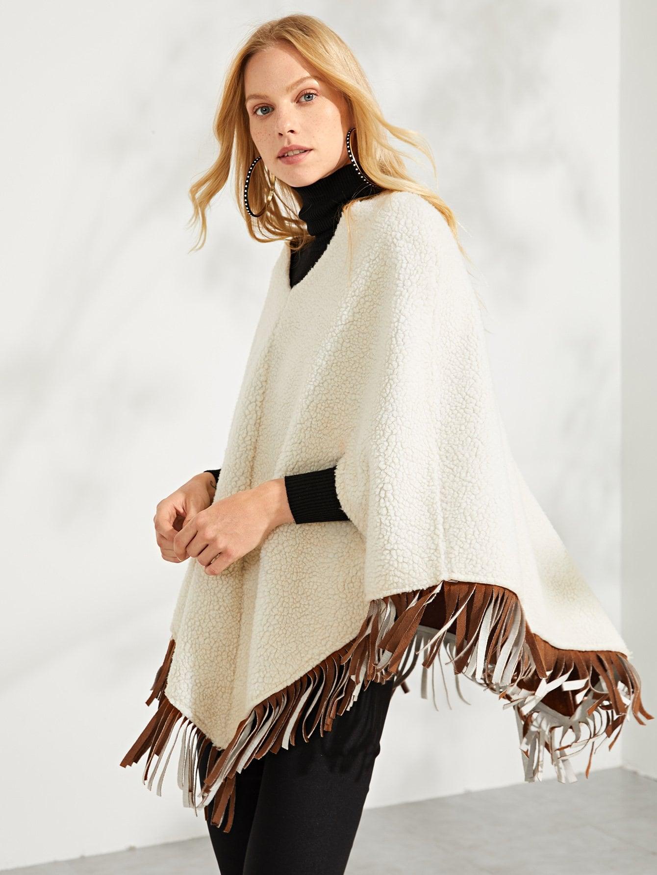 Купить Пальто из искусственных кож и подол с кистью, Denisa, SheIn