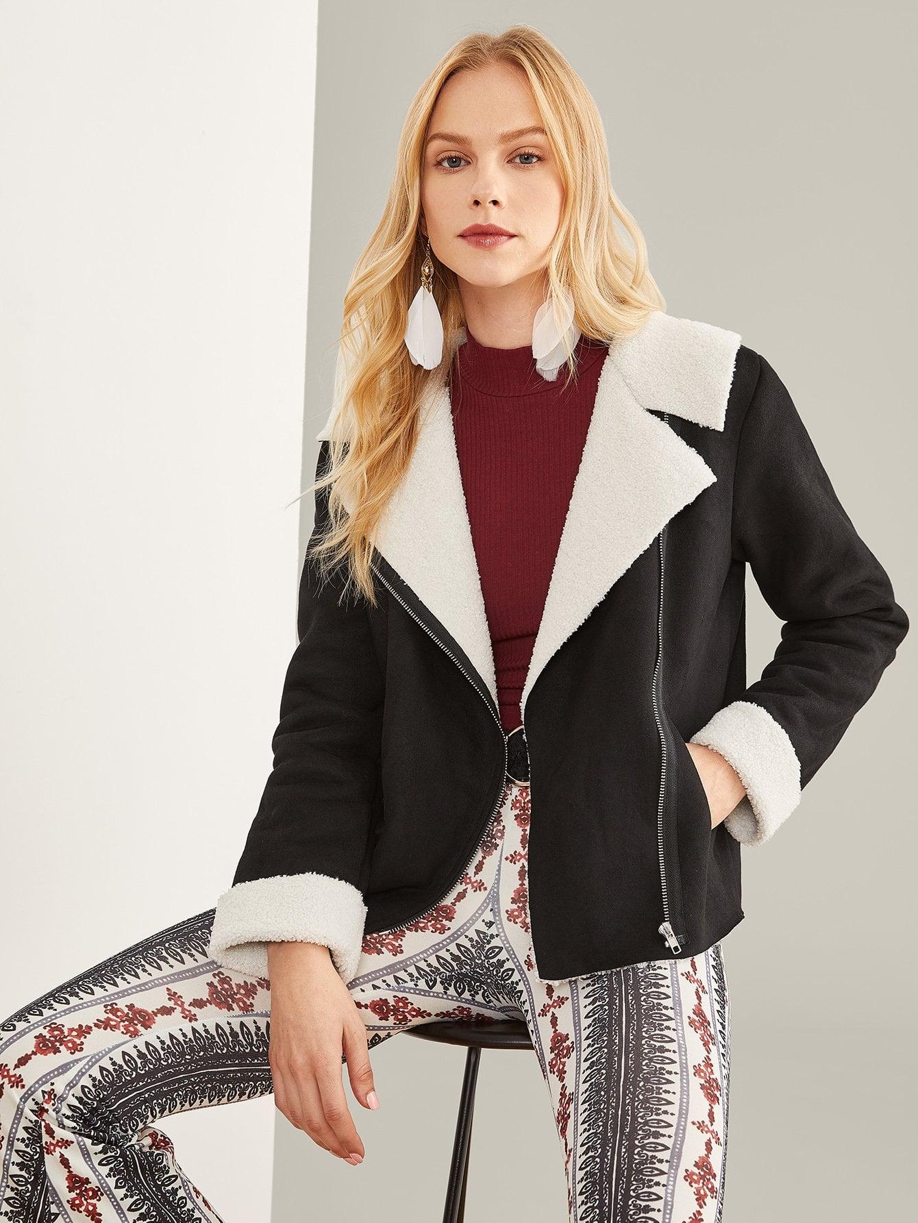 Купить Пальто из искусственных овчин и с застёжкой молния, Denisa, SheIn