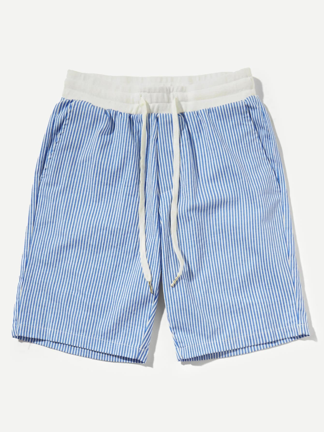 Men Contrast Drawstring Waist Striped Shorts men colorful striped drawstring shorts
