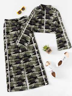 Zip Up Split Sleeve Camo Top & Slit Wide Pants Set