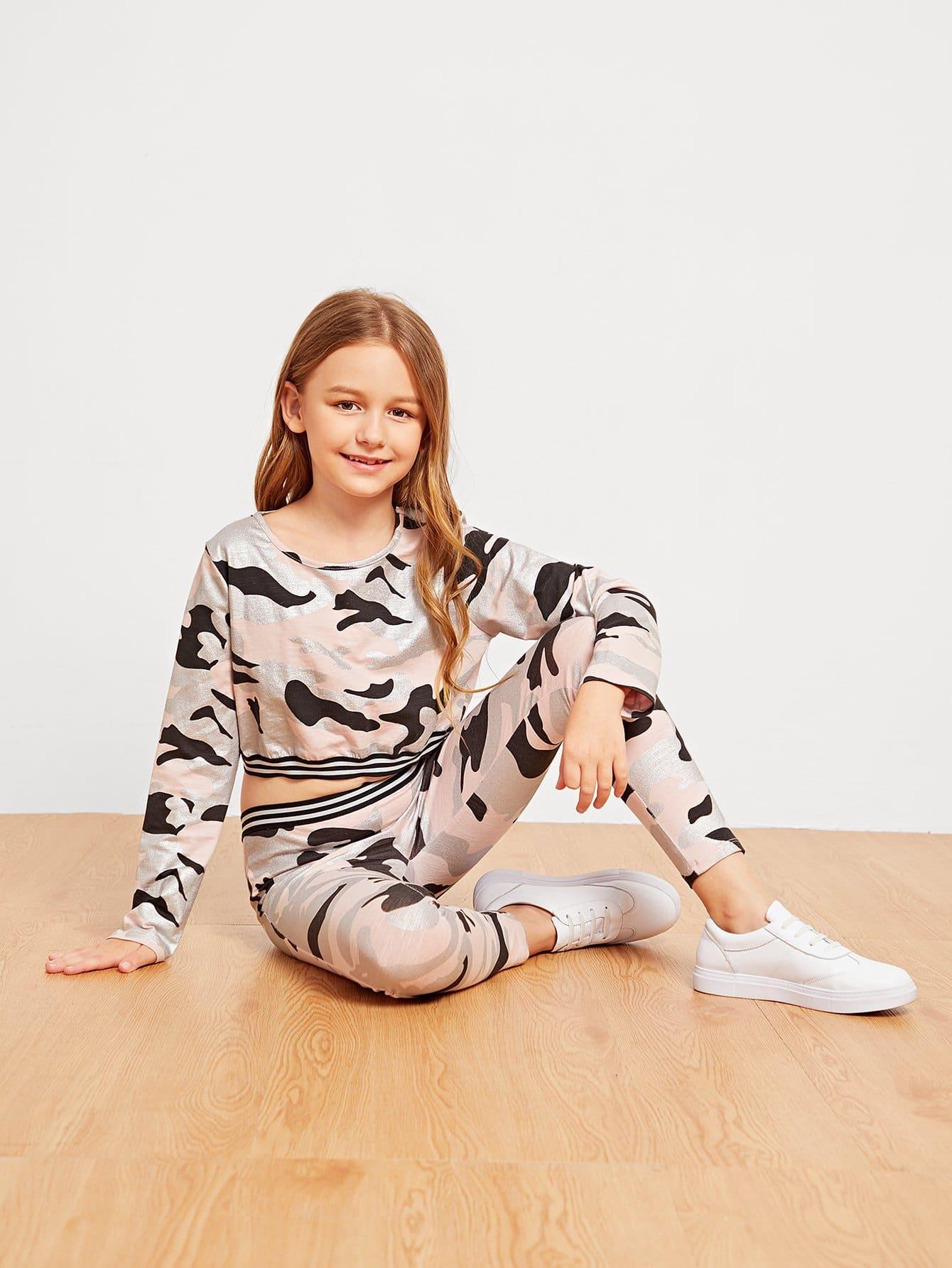 Купить Девушки Camo Print Striped Top & Pants Set, Sashab, SheIn