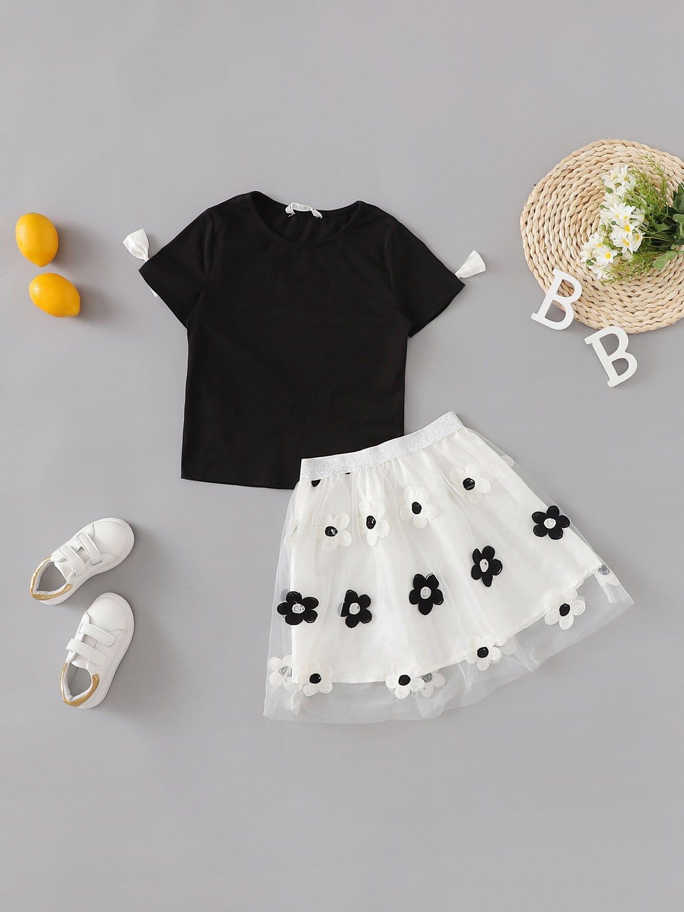 Купить Блузка и отверстие рукава с украшением бабочки и сетчатая юбка для девочки, null, SheIn