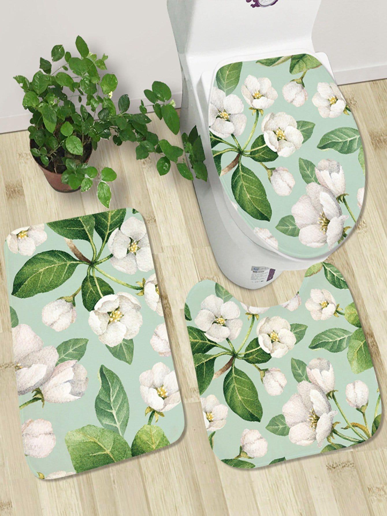 Купить 3 шт. комплект Коврик для ванной с цветочным принтом, null, SheIn