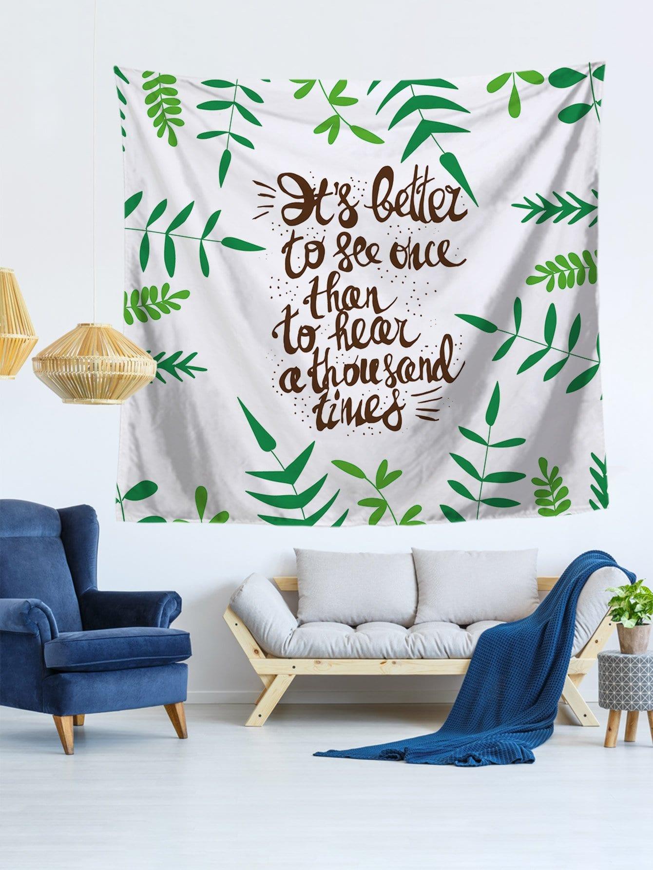 Letter & Leaf Print Tapestry