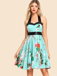 Halter Neck Knot Flower Print Dress