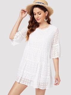 Flounce Sleeve Eyelet Embroidery Dress