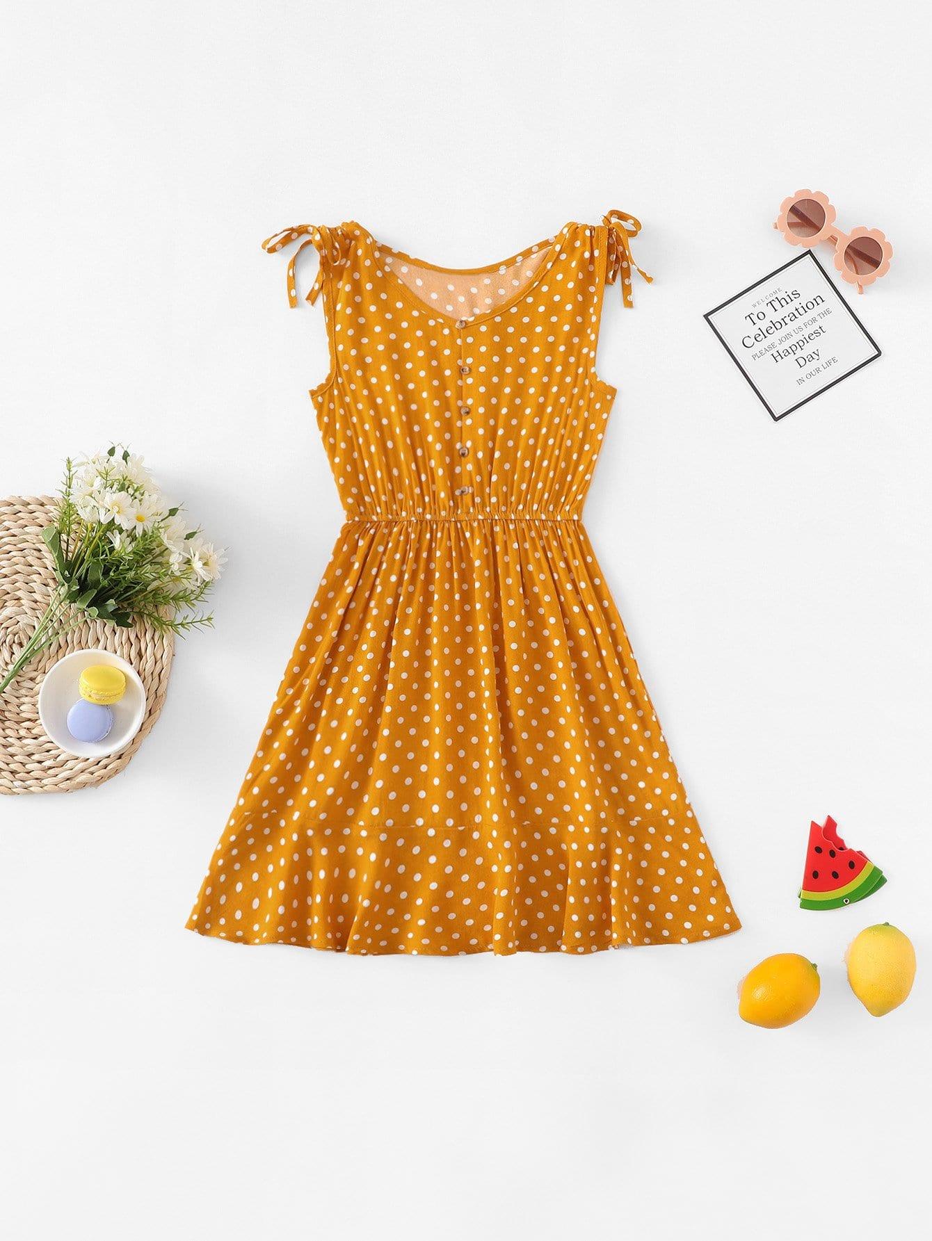 Купить Платье с рисунками точки и с украшением пуговицы для девочки, null, SheIn