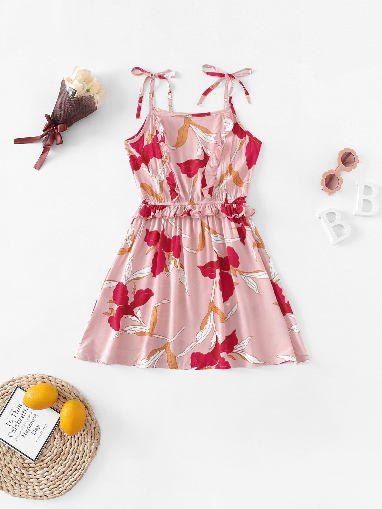 Купить Платье на бретелях и с рисунками листьев для девочки, null, SheIn