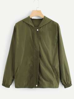 Snap Button Front Solid Hoodie Jacket